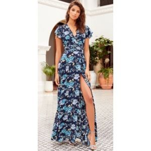 LuLus Floral Print Flutter Sleeve Maxi Dress